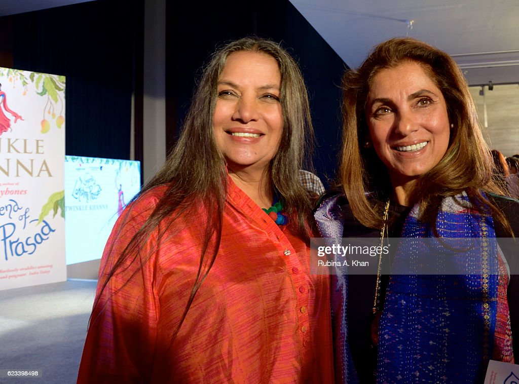 Shabana Azmi and Dimple Kapadia at the launch of Twinkle Khanna's second book, The Legend of Lakshmi Prasad, published by Juggernaut Books, at the JW Marriott on November 15, 2016 in Mumbai, India.