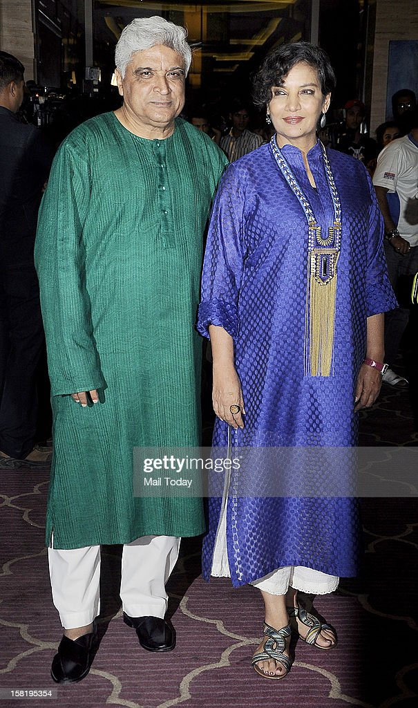 Shabana Azmi and Javed Akhtar at the success party of the film Talaash in Mumbai on Monday.