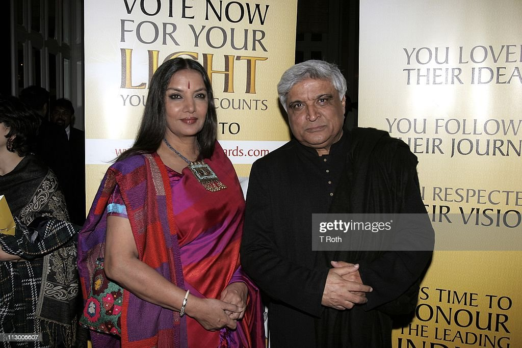 <a gi-track='captionPersonalityLinkClicked' href=/galleries/search?phrase=Shabana+Azmi&family=editorial&specificpeople=565786 ng-click='$event.stopPropagation()'>Shabana Azmi</a> and Javed Akhtar attend the 2011 Light of India awards at The Waldorf-Astoria on April 22, 2011 in New York City.