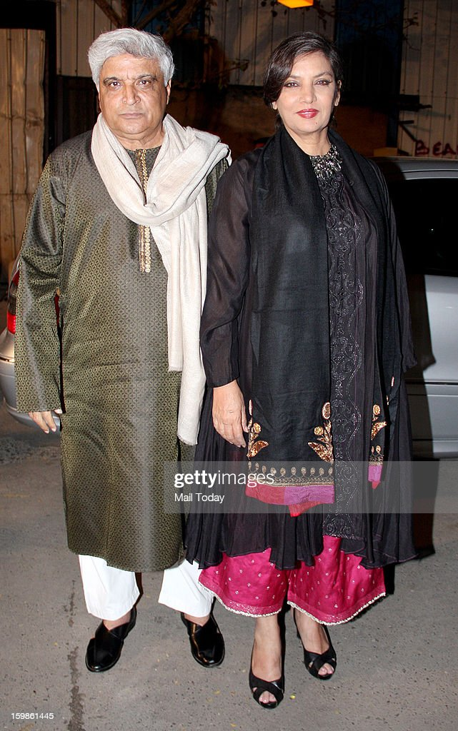 Shabana Azmi and writer Javed Akhtar during the 58th Idea Filmfare Awards 2013, held at Yash Raj Films Studios in Mumbai.