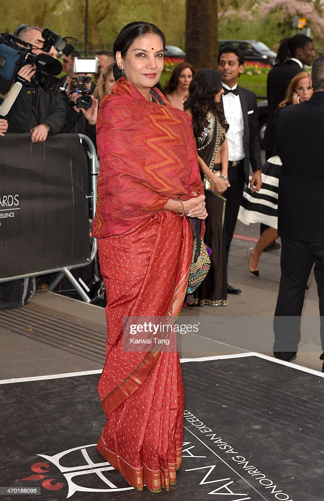 <a gi-track='captionPersonalityLinkClicked' href=/galleries/search?phrase=Shabana+Azmi&family=editorial&specificpeople=565786 ng-click='$event.stopPropagation()'>Shabana Azmi</a> attends The Asian Awards 2015 at The Grosvenor House Hotel on April 17, 2015 in London, England.