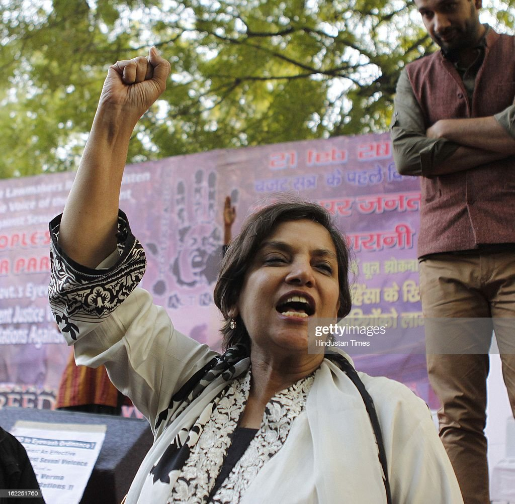 Shabana Azmi delivering a speech during a protest at Jantar Mantar on February 21, 2013 in New Delhi, India. Various organisation and students gathered demanding the Indian lawmaker to implement striker law on sexual violence.