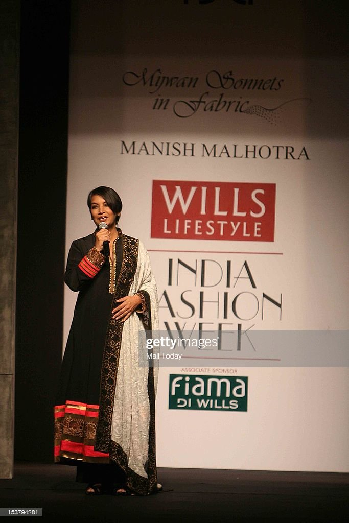 Shabana Azmi during designer Manish Malhotra's show at Wills Lifestyle India Fashion Week, held in New Delhi.