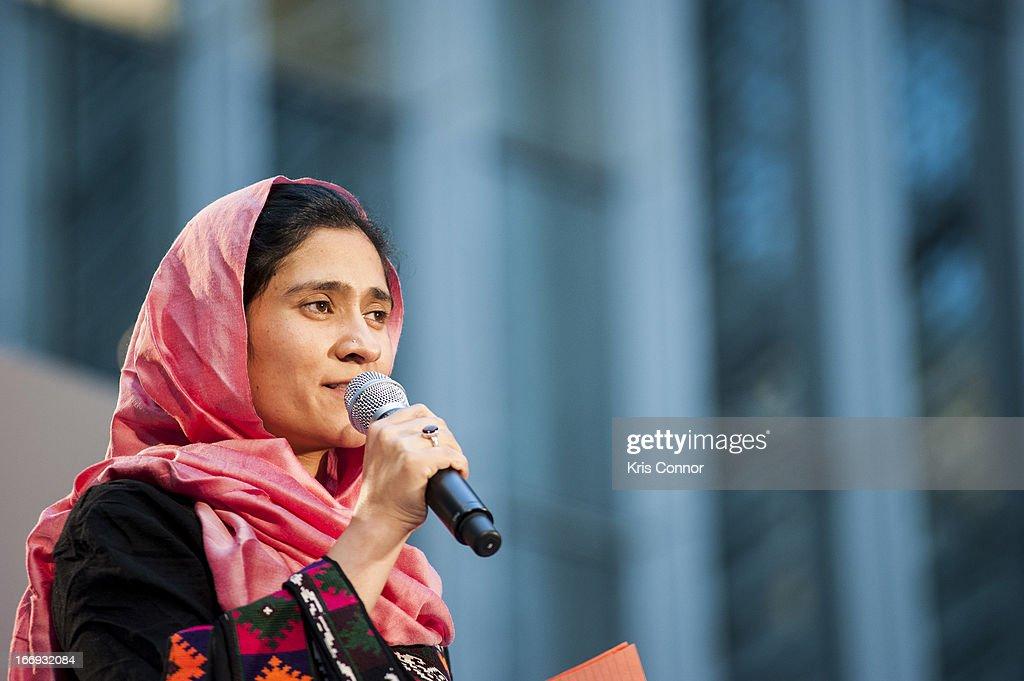 Shabana Basij-Rasikh speaks during the Girl Rising: A Rally for Girls and Women screening at The World Bank on April 18, 2013 in Washington, DC.