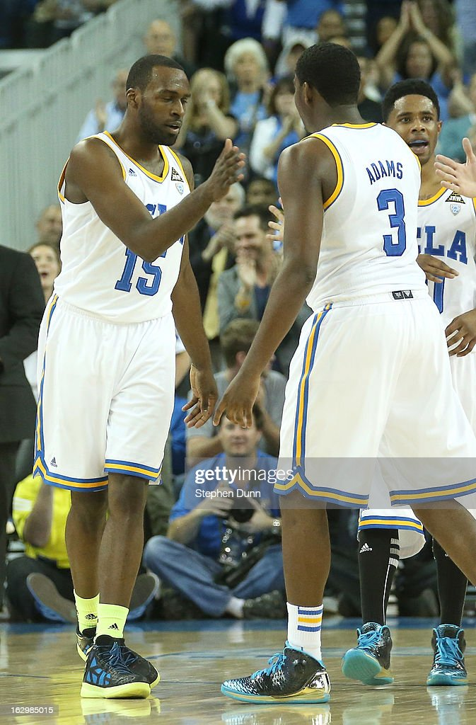 <a gi-track='captionPersonalityLinkClicked' href=/galleries/search?phrase=Shabazz+Muhammad&family=editorial&specificpeople=7447677 ng-click='$event.stopPropagation()'>Shabazz Muhammad</a> #15 and Jordan Adams #3 of the UCLA Bruins celebrate in the game against the Arizona Wildcats at Pauley Pavilion on March 2, 2013 in Los Angeles, California. UCLA won 74-69.