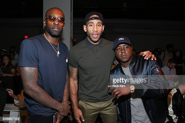 Shabazz Muhammad Dahntay Jones and Jadakiss attend Ovadia Sons fashion show during New York Fashion Week Men's S/S 2017 at Skylight Clarkson Sq on...