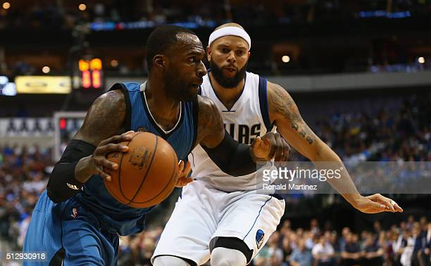 Shabazz Muhammad of the Minnesota Timberwolves at American Airlines Center on February 28 2016 in Dallas Texas