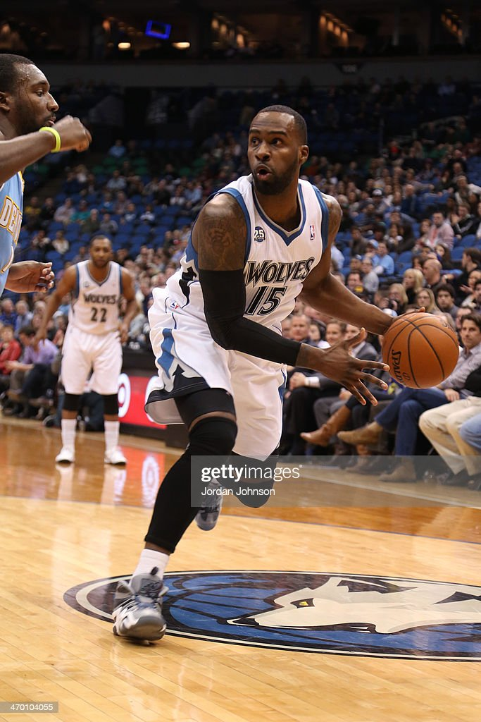 <a gi-track='captionPersonalityLinkClicked' href=/galleries/search?phrase=Shabazz+Muhammad&family=editorial&specificpeople=7447677 ng-click='$event.stopPropagation()'>Shabazz Muhammad</a> #15 of the Minnesota Timberwolves dribbles the ball against the Denver Nuggets on February 12, 2014 at Target Center in Minneapolis, Minnesota.