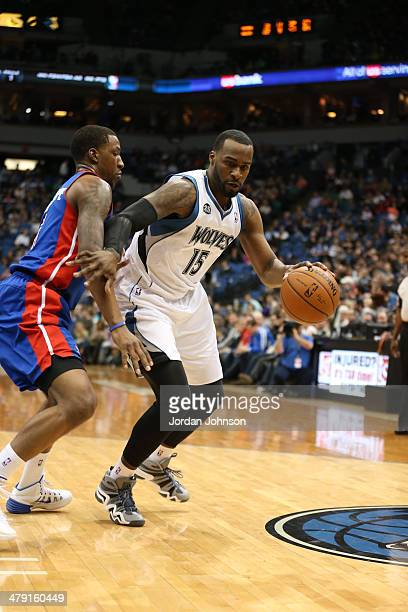 Shabazz Muhammad of the Minnesota Timberwolves dribbles the ball during the game against the Detroit Pistons on March 7 2014 at Target Center in...