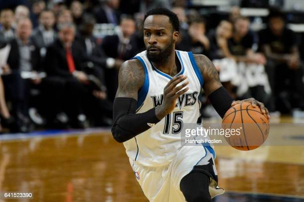 Shabazz Muhammad of the Minnesota Timberwolves dribbles the ball against the New Orleans Pelicans during the game on February 10 2017 at the Target...