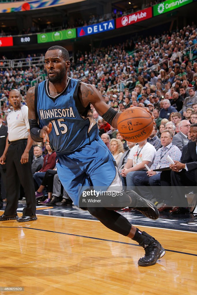 <a gi-track='captionPersonalityLinkClicked' href=/galleries/search?phrase=Shabazz+Muhammad&family=editorial&specificpeople=7447677 ng-click='$event.stopPropagation()'>Shabazz Muhammad</a> #15 of the Minnesota Timberwolves drives against the Utah Jazz at EnergySolutions Arena on December 30, 2014 in Salt Lake City, Utah.
