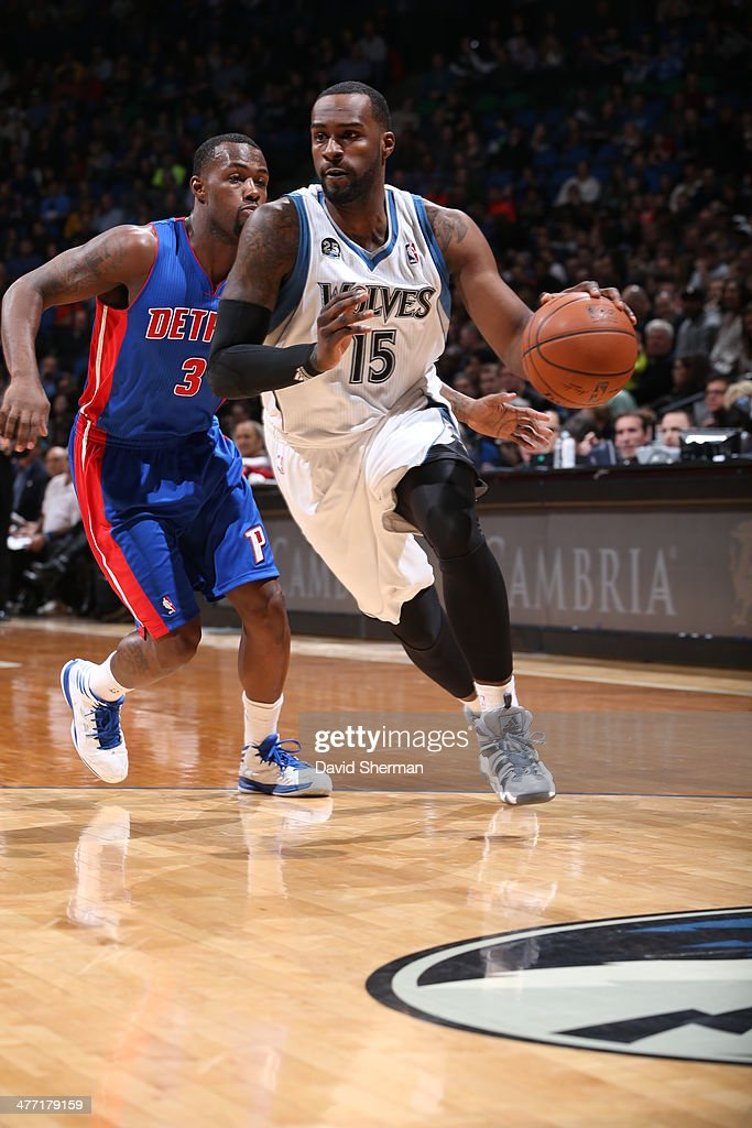<a gi-track='captionPersonalityLinkClicked' href=/galleries/search?phrase=Shabazz+Muhammad&family=editorial&specificpeople=7447677 ng-click='$event.stopPropagation()'>Shabazz Muhammad</a> #15 of the Minnesota Timberwolves drives against the Detroit Pistons on March 7, 2014 at Target Center in Minneapolis, Minnesota.