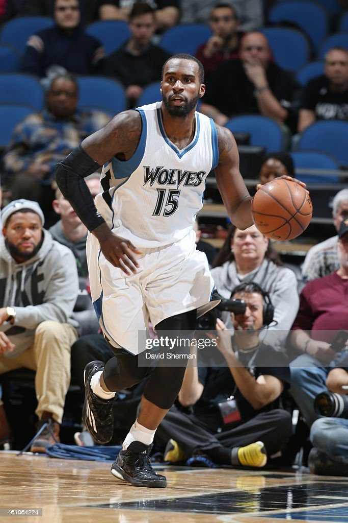 Shabazz Muhammad #15 of the Minnesota Timberwolves drives to the basket against the Denver Nuggets during the game on January 5, 2015 at Target Center in Minneapolis, Minnesota.