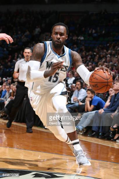 Shabazz Muhammad of the Minnesota Timberwolves drives to the basket against the LA Clippers on March 8 2017 at Target Center in Minneapolis Minnesota...