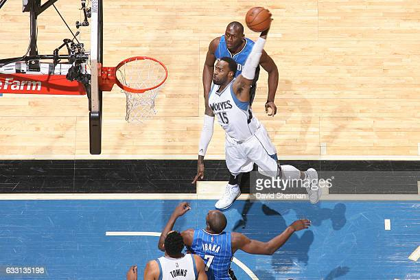 Shabazz Muhammad of the Minnesota Timberwolves dunks against the Orlando Magic on January 30 2017 at Target Center in Minneapolis Minnesota NOTE TO...