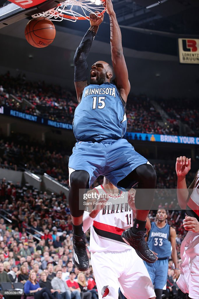 <a gi-track='captionPersonalityLinkClicked' href=/galleries/search?phrase=Shabazz+Muhammad&family=editorial&specificpeople=7447677 ng-click='$event.stopPropagation()'>Shabazz Muhammad</a> #15 of the Minnesota Timberwolves dunks against the Portland Trail Blazers on November 30, 2014 at the Moda Center Arena in Portland, Oregon.