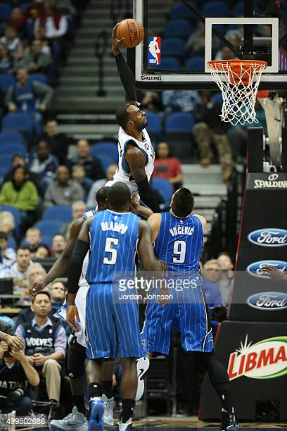Shabazz Muhammad of the Minnesota Timberwolves dunks against the Orlando Magic during the game on December 1 2015 at Target Center Minneapolis...