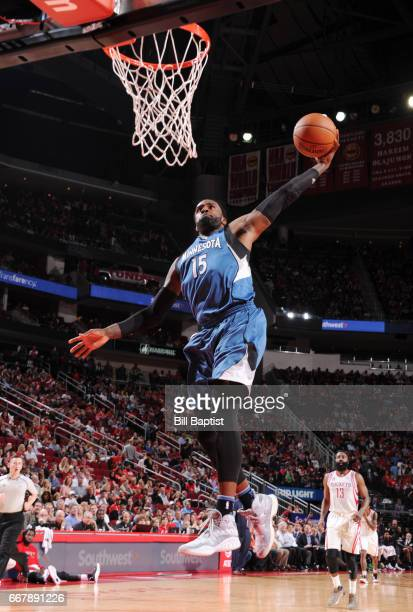 Shabazz Muhammad of the Minnesota Timberwolves dunks against the Houston Rockets during the game on April 12 2017 at the Toyota Center in Houston...