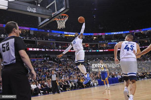 Shabazz Muhammad of the Minnesota Timberwolves dunks the ball against the Golden State Warriors during the game as part of 2017 NBA Global Games...