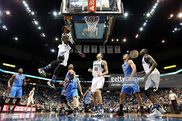 Shabazz Muhammad of the Minnesota Timberwolves goes for the dunk during the game against the Oklahoma City Thunder on January 12 2016 at Target...
