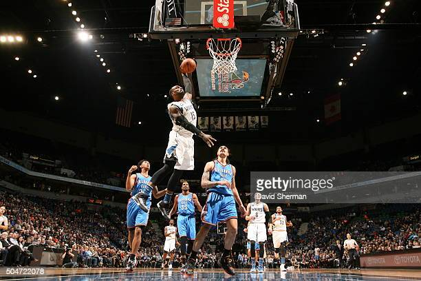 Shabazz Muhammad of the Minnesota Timberwolves goes to the basket against the Oklahoma City Thunder on January 12 2016 at Target Center in...