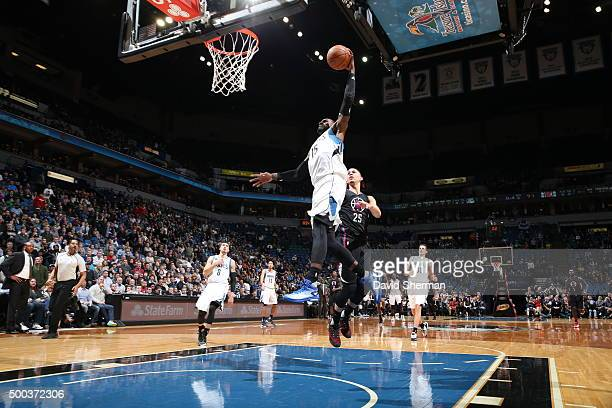 Shabazz Muhammad of the Minnesota Timberwolves goes up for a dunk against the Los Angeles Clippers on December 7 2015 at Target Center in Minneapolis...