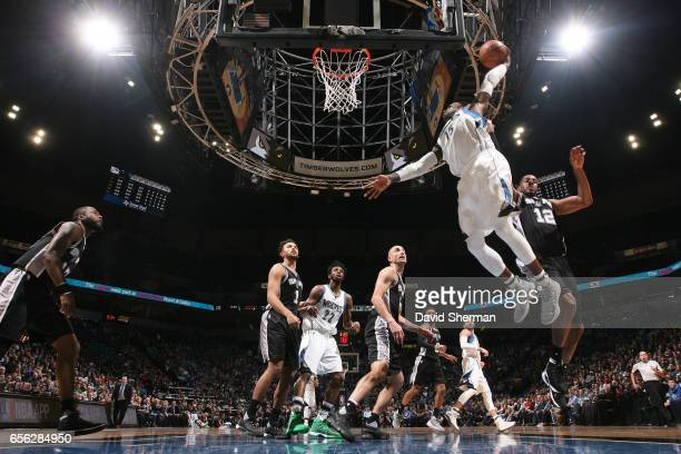 Shabazz Muhammad of the Minnesota Timberwolves goes up for a dunk against the San Antonio Spurs on March 21 2017 at Target Center in Minneapolis...
