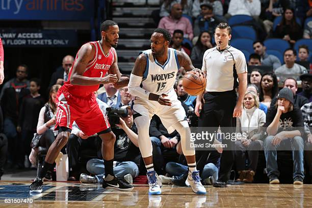 Shabazz Muhammad of the Minnesota Timberwolves handles the ball against Trevor Ariza of the Houston Rockets during a game on January 11 2017 at the...