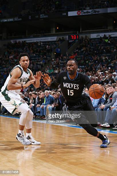 Shabazz Muhammad of the Minnesota Timberwolves handles the ball against the Milwaukee Bucks on March 4 2016 at the BMO Harris Bradley Center in...