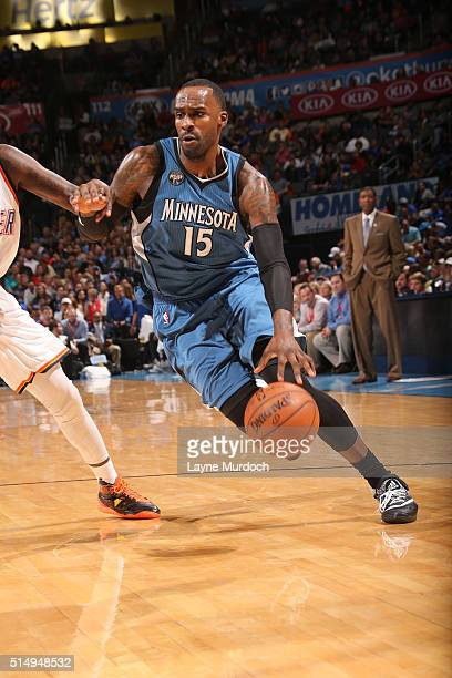 Shabazz Muhammad of the Minnesota Timberwolves handles the ball against the Oklahoma City Thunder on March 11 2016 at Chesapeake Energy Arena in...