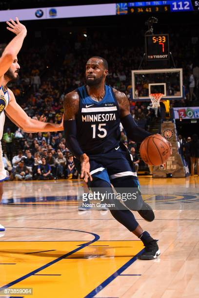 Shabazz Muhammad of the Minnesota Timberwolves handles the ball against the Golden State Warriors on November 8 2017 at ORACLE Arena in Oakland...