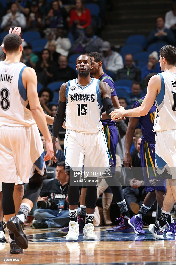 <a gi-track='captionPersonalityLinkClicked' href=/galleries/search?phrase=Shabazz+Muhammad&family=editorial&specificpeople=7447677 ng-click='$event.stopPropagation()'>Shabazz Muhammad</a> #15 of the Minnesota Timberwolves high fives teammates during the game against the New Orleans Pelicans on February 8, 2016 at Target Center in Minneapolis, Minnesota.