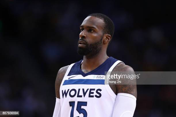Shabazz Muhammad of the Minnesota Timberwolves looks on during the game between the Minnesota Timberwolves and the Golden State Warriors as part of...