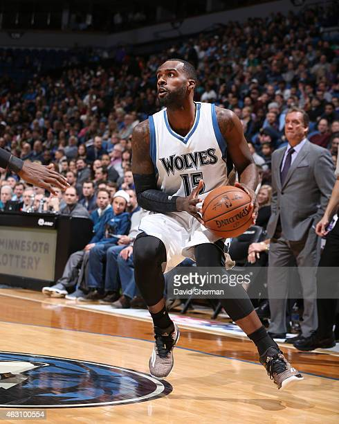 Shabazz Muhammad of the Minnesota Timberwolves moves to the basket against the Atlanta Hawks during the game on February 9 2015 at Target Center in...