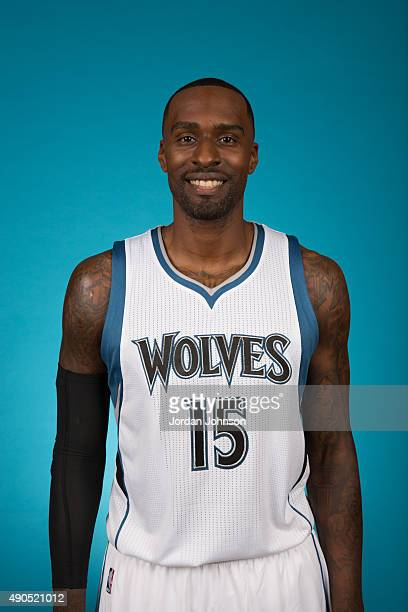 Shabazz Muhammad of the Minnesota Timberwolves pose for portraits during 2015 Media Day on September 28 2015 at Target Center in Minneapolis...