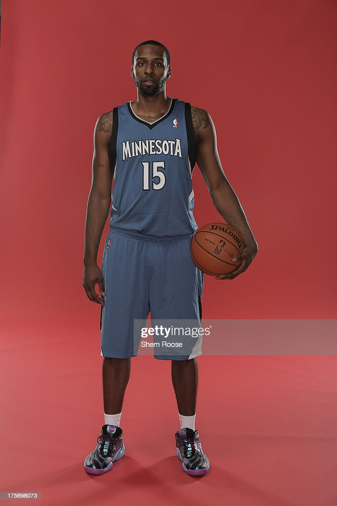 Shabazz Muhammad #15 of the Minnesota Timberwolves poses for a portrait during the 2013 NBA rookie photo shoot on August 6, 2013 at the Madison Square Garden Training Facility in Tarrytown, New York.