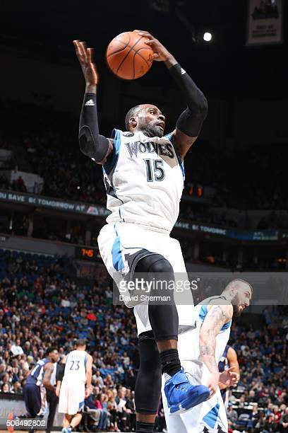 Shabazz Muhammad of the Minnesota Timberwolves rebounds against the Memphis Grizzlies on January 23 2016 at Target Center in Minneapolis Minnesota...