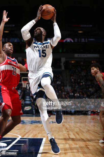 Shabazz Muhammad of the Minnesota Timberwolves shoots the ball during the game against the Washington Wizards on November 27 2017 at Target Center in...