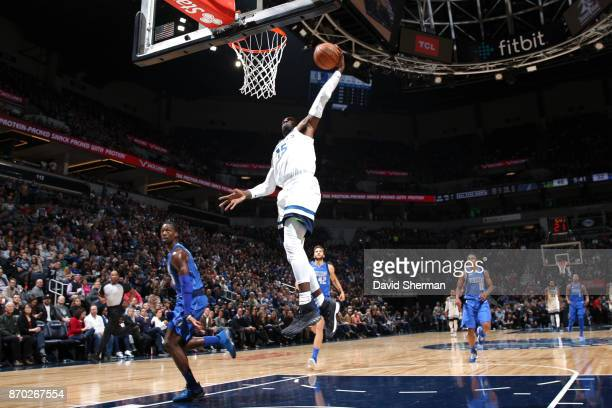 Shabazz Muhammad of the Minnesota Timberwolves shoots the ball against the Dallas Mavericks on November 4 2017 at the Target Center in Minneapolis...