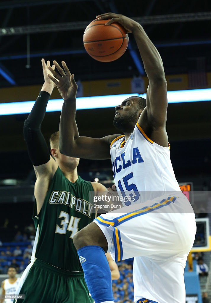<a gi-track='captionPersonalityLinkClicked' href=/galleries/search?phrase=Shabazz+Muhammad&family=editorial&specificpeople=7447677 ng-click='$event.stopPropagation()'>Shabazz Muhammad</a> #15 of the UCLA Bruins goes up for a shot against Brian Bennett #34 of the Cal Poly Mustangs at Pauley Pavilion on November 25, 2012 in Los Angeles, California. Cal Poly won 70-68.