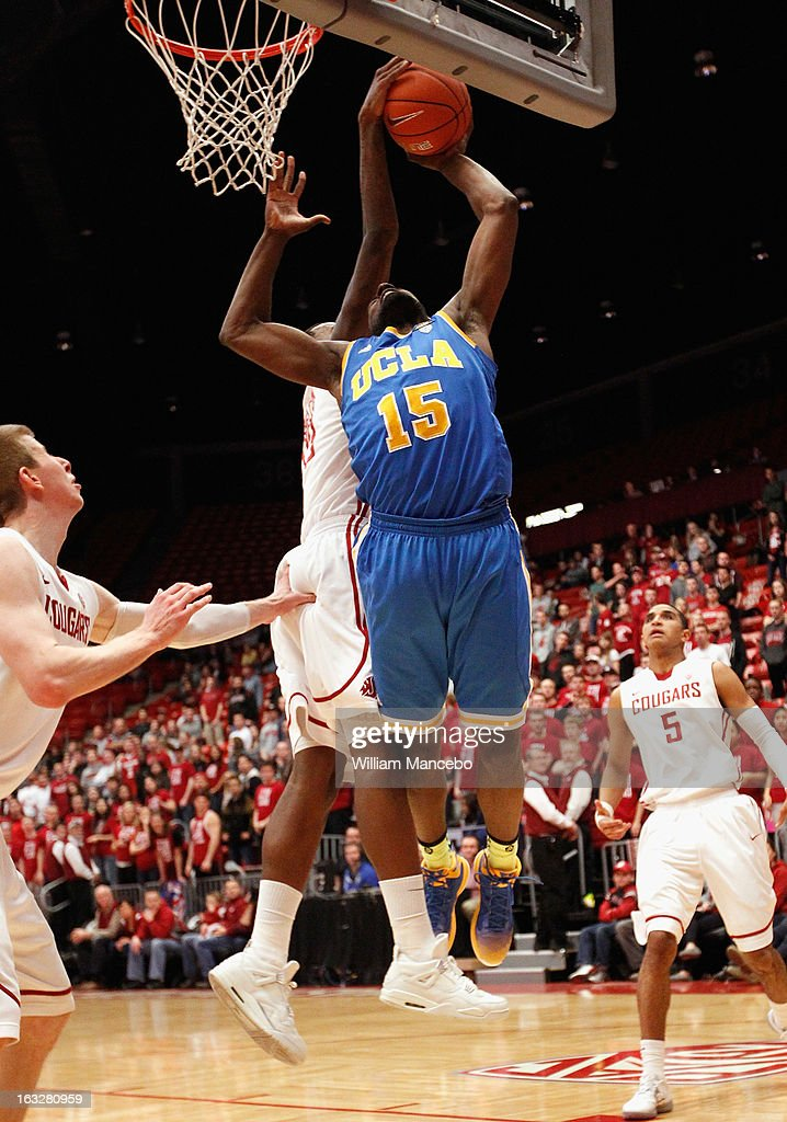 Shabazz Muhammad #15 of the UCLA Bruins goes up for a shot during the second half of the game against the Washington State Cougars at Beasley Coliseum on March 6, 2013 in Pullman, Washington.
