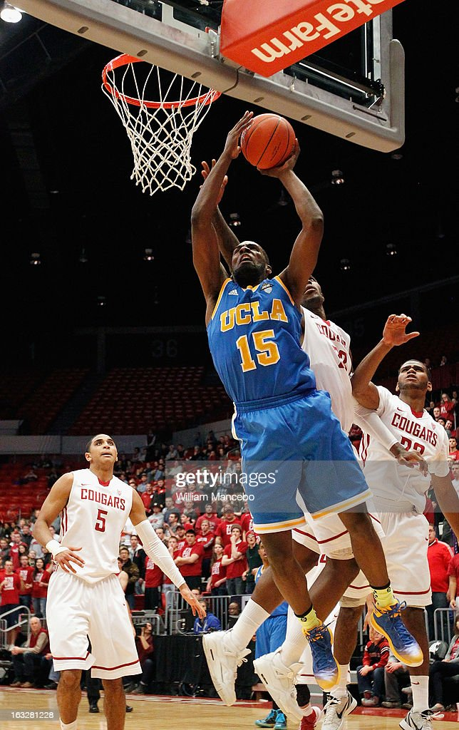 Shabazz Muhammad #15 of the UCLA Bruins goes up for a shot in the second half of the game against the Washington State Cougars at Beasley Coliseum on March 6, 2013 in Pullman, Washington.