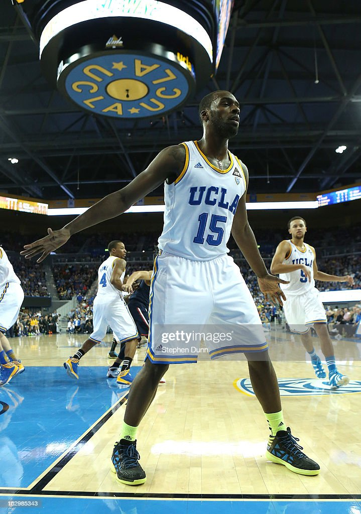 <a gi-track='captionPersonalityLinkClicked' href=/galleries/search?phrase=Shabazz+Muhammad&family=editorial&specificpeople=7447677 ng-click='$event.stopPropagation()'>Shabazz Muhammad</a> #15 of the UCLA Bruins guards on an inbounds pass against the Arizona Wildcats at Pauley Pavilion on March 2, 2013 in Los Angeles, California. UCLA won 74-69.