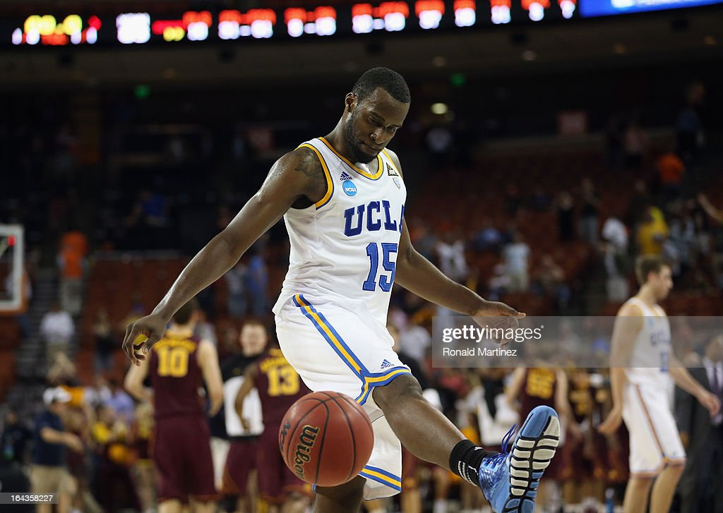 <a gi-track='captionPersonalityLinkClicked' href=/galleries/search?phrase=Shabazz+Muhammad&family=editorial&specificpeople=7447677 ng-click='$event.stopPropagation()'>Shabazz Muhammad</a> #15 of the UCLA Bruins kicks the ball after his team was defeated by the Minnesota Golden Gophers 83-63 during the second round of the 2013 NCAA Men's Basketball Tournament at The Frank Erwin Center on March 22, 2013 in Austin, Texas.