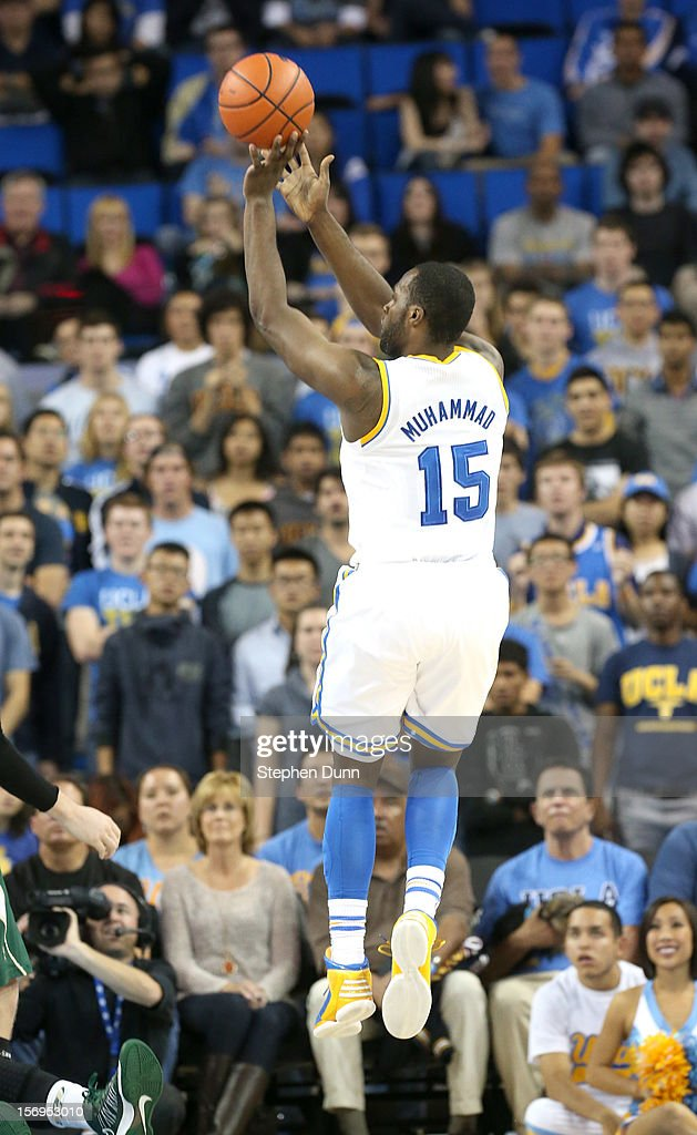 Shabazz Muhammad #15 of the UCLA Bruins shoots a jump shot against the Cal Poly Mustangs at Pauley Pavilion on November 25, 2012 in Los Angeles, California.