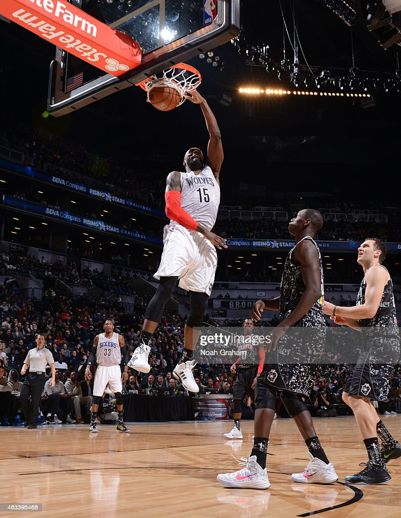 Shabazz Muhammad #15 of the USA team dunks against the World team in the 2015 BBVA Rising Stars Challenge on February 13, 2015 at Barclays Center in Brooklyn, New York.