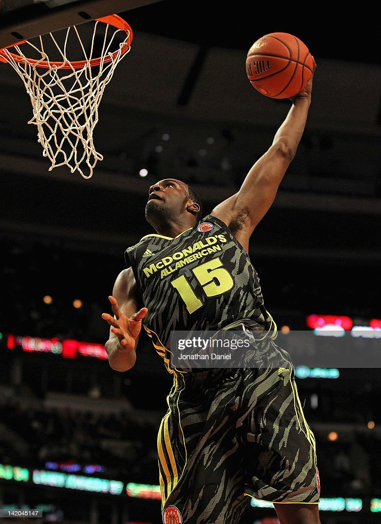 MVP Shabazz Muhammad #15 of the West team goes up for a dunk during the 2012 McDonald's All American Game at United Center on March 28, 2012 in Chicago, Illinois.