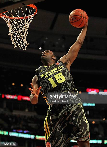 Shabazz Muhammad of the West team goes up for a dunk during the 2012 McDonald's All American Game at United Center on March 28 2012 in Chicago...
