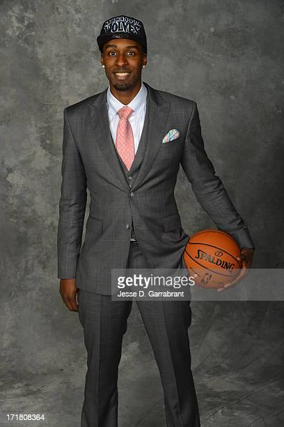 Shabazz Muhammad poses for a portrait after being selected during the 2013 NBA Draft at the Barclays Center on June 27 2013 in Brooklyn New York NOTE...