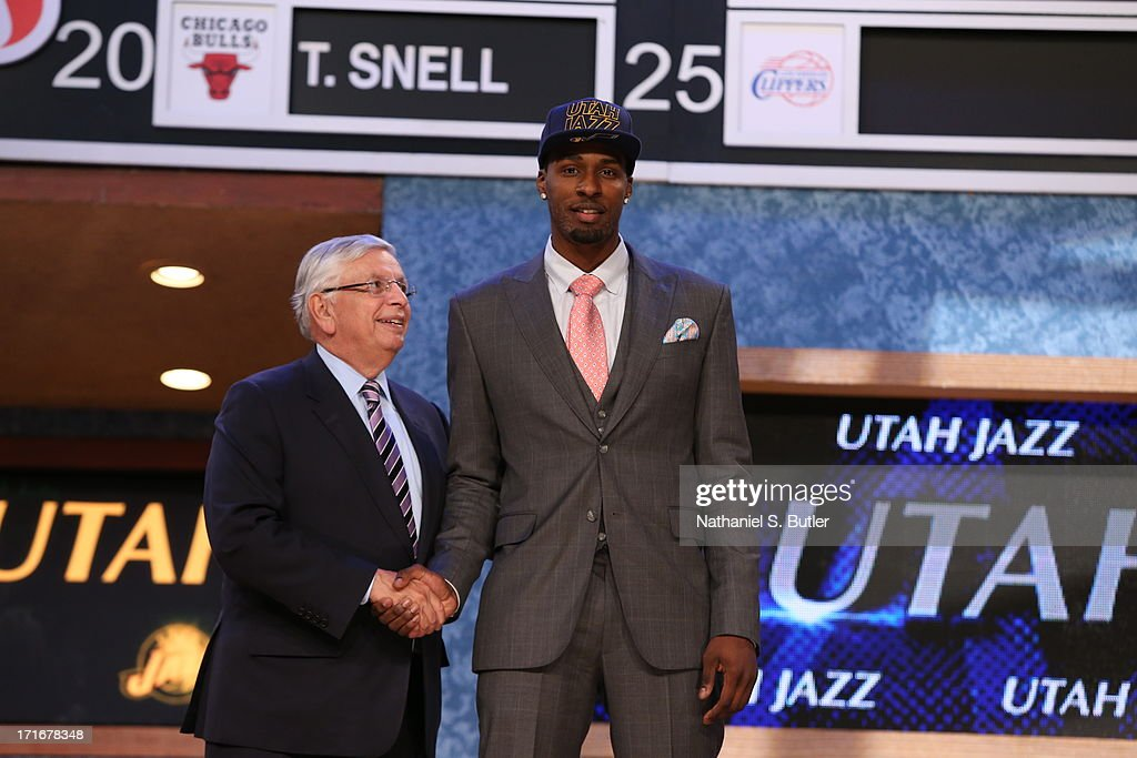Shabazz Muhammad shakes hands with NBA Commissioner, David Stern after being selected number fourteen overall by the Utah Jazz during the 2013 NBA Draft on June 27, 2013 at Barclays Center in Brooklyn, New York.
